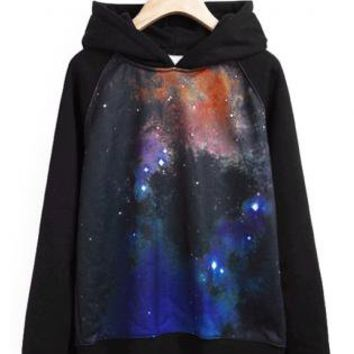 Black Men's Hooded Galaxy Sweatshirts S009924
