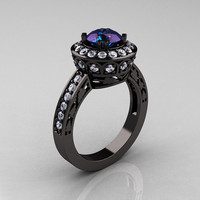 14K Black Gold 1.0 Carat Russian Alexandrite Diamond Wedding Ring, Engagement Ring R199-14KBGDA