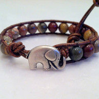 Good Luck Elephant, Red Picture Jasper Leather Wrap Bracelet, Chan Luu Style, Alabama, Valentine&#x27;s Day