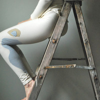Creamy Organic Cotton Sycamore Tree Leggings for Fall  Small/Medium  READY TO SHIP