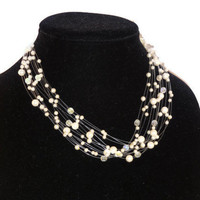 Floating Pearls and Crystal Beads Necklace Vintage Bridal Jewelry