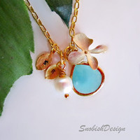 Personalized Jewelry, Orchid Flower Charm, Stamped Initial Charms, Aquamarine Pendant