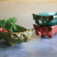 ceramic turquoise pig shaped tray