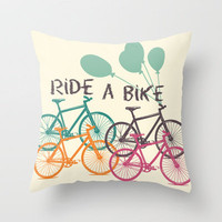 Ride a Bike Throw Pillow by Louise Machado | Society6
