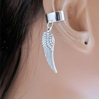 Silver Angel Wing Ear Cuff