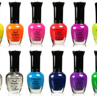 Kleancolor FULL SIZE NEON LOT OF 12 Nail polish Lacquer FREE SHIPPING