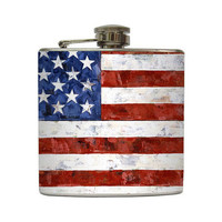 American Flag Whiskey Flask Painting Patriotic by LiquidCourage