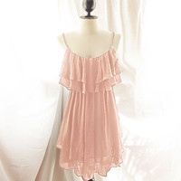 River of Romansk Autumn Romantic Angel Baby Pink Chiffon Dress Blush Petal Rose Tea Marie Antoinette Ballerina Vintage Flapper Dress