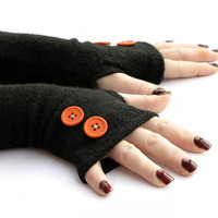 Black Arm Warmers, Fingerless Gloves with Orange Buttons -  Texting Gloves,  Hand Warmers, Mitts, Arm Gloves, Gloves, Arm Sleeves