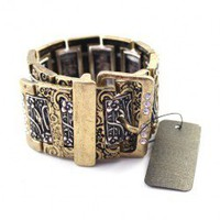 Retro Chunky Watchband Bracelet with Engraved Floral Print with Diamante