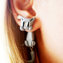 fake gauge plug two part earrings grey gray cat, Polymerclay, handmade