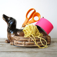 Ceramic Daschund Desk Organizer by GallivantingGirls on Etsy