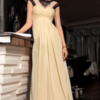 Cecilia in Cream Chiffon Evening Dress