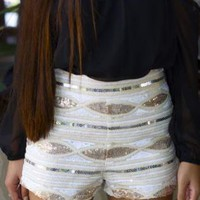 High Waisted Shorts with Sequin Diamond Pattern