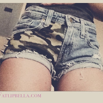 Army military Camo Camoflauge low waist distressed by FatLipBella