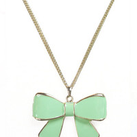Mint Bow Long Necklace with Gold Chain : Aprons - Dresses - Betsey Johnson Handbags - Mindy Weiss Wedding - Daisy Shoppe