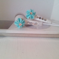 Ocean Blue Coral earbuds with Swarovski Crystals