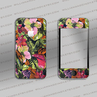 Iphone 4 4s Skin - Vintage Floral Pattern Print - Sticker Decal Cover