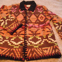 vintage Navajo Pattern Jacket  ... Coat  Womens M medium