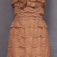 Beautiful Tiered Mauve Lace Strapless Cocktail Dress VINTAGEOUS VINTAGE CLOTHING