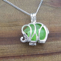 Sea Glass  Elephant Necklace Lime Green Rare Genuine