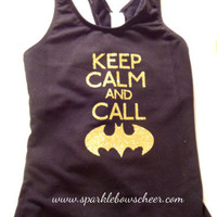 Keep Calm and Call Batman Super Hero Cotton Sports Top Sports Cheerleading Yoga