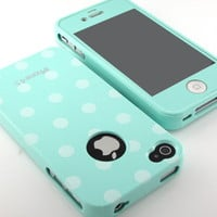 Soft Glossy Mint Polka Dot Silicone case cover W/same Screen for iPhone 4 4S 4G
