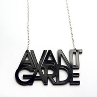 $19.00 avant garde typography acrylic necklace by plastique on Etsy