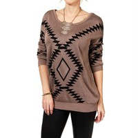 Pre-Order: Mocha/Black Southwest Print Sweater