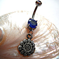 Tribal Sun Swirl Belly Button Navel Ring by OmBellyCo on Etsy