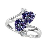 # 2.01 cttw 10k Gold Lab Created Heart Shape Alexandrite and Diamond Ring in White Gold Size 8