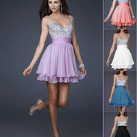 sexy Sequins&Chiffon V-neck Above Knee Cocktail Prom Evening Dress