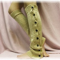 LW0 Wheat Basic Button down legwarmer