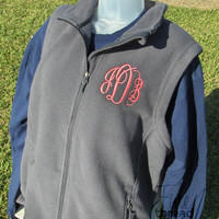 Monogram Fleece Vest with Pockets Zip Up Layering Piece