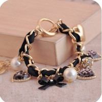 Fashion Retro Heart Leopard Bowknot Rhinestone Crystal Pearl Bangle Bracelet