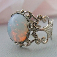 Opal Ring Silver Opal Rings Adjustable White by pinkingedgedesigns
