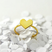 Mini pixel heart ring vermeil ring by virginiemillefiori on Etsy