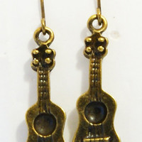 Handmade Vintage Style Guitar Drop Earrings by IioveU on Etsy