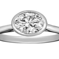 Engagement Ring - Oval Diamond Horizontal Bezel Solitaire Engagement Ring in 14K White Gold - ES1133
