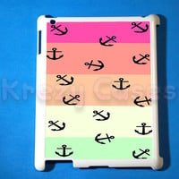 iPad 2 case, iPad 3 case, Anchor with colorful stripe ipad 2 cover for your ipad 2, iPad 3 Cover, Snap on Hard Plastic Case