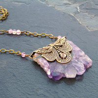 Amethyst Druzy Necklace, February Birthstone, Raw Stone Jewelry, Purple Necklace, Druzy Jewelry, Amethyst Jewelry, Gemstone Jewelry