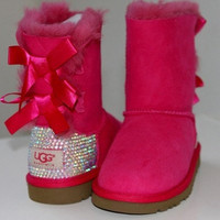 Custom Swarovski Bailey Bow Ugg Boots by MissMackiesBoutique