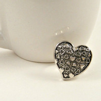 Heart Button Ring in Antique Silver by shopkim