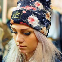 Floral print velvet Beanie from The Left Bank