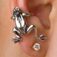 Silver Frog Prince Ear Cuff
