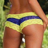 DREAMGIRL LINGERIE BOYSHORTS WITH NEON LACE TRIM