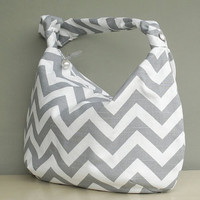 Chevron Hobo Bag Zipper Slouch Purse in by MondayMorningStudios
