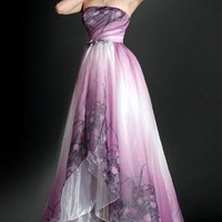Printed Silk Chiffon Evening Dress