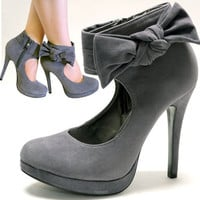 Gray Suede Side Zipper High Heels