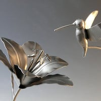 Hummingbird and Lily Flower Metal Sculpture by NatureofSteel
